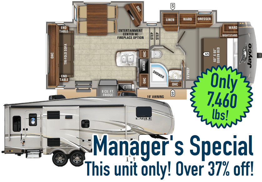 Image of Jayco Eagle 24.5 CKTS fifth wheel exterior and floor plan, with text: Manager's Special, this unit only, over 37% off, weighs only 7,460 pounds.
