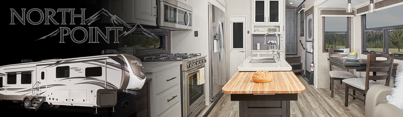 Photo collage of interior and exterior of a Jayco North Point fifth wheel and logo.