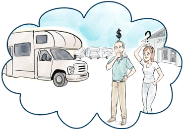 Cartoon picture of two people thinking about RV finance.