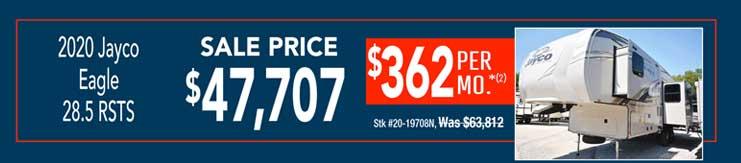 2020 Jayco Eagle 28.5 RSTS. Sale: $47,707