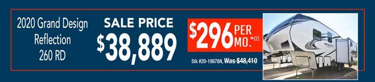 2020 Grand Design Reflection 260 RD. Sale: $38,889