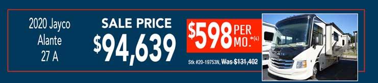2020 Jayco Alante 27 A. Sale: $94,639