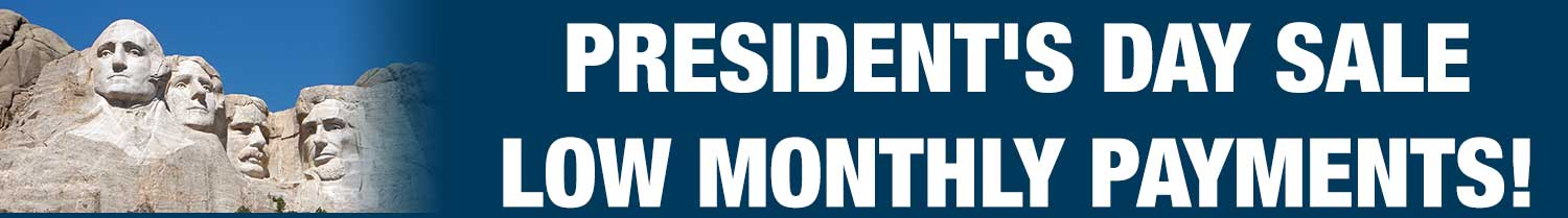 Presidents Day sale, low monthly payments on RVs.