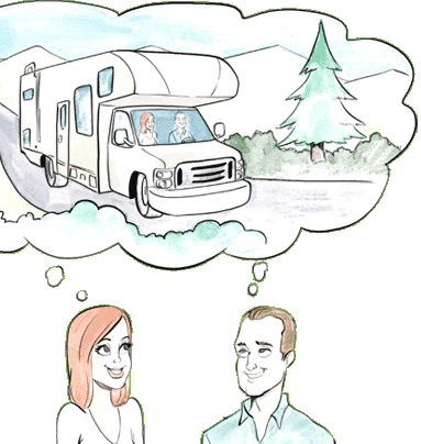 Couple with dream bubble showing RV.