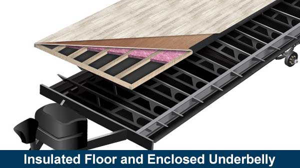 Illustration of Transcend sealed underbelly and insulated floor.