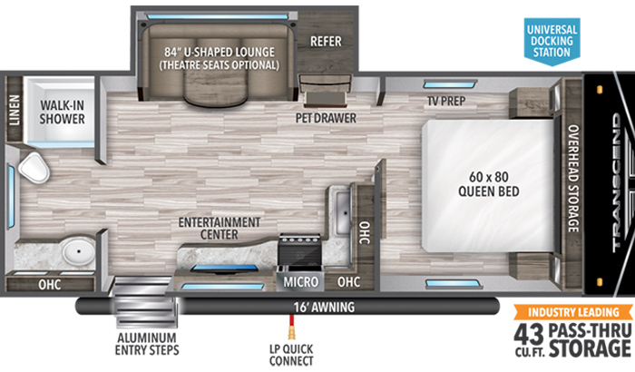 Transcend XPLOR 221RB floor plan diagram.