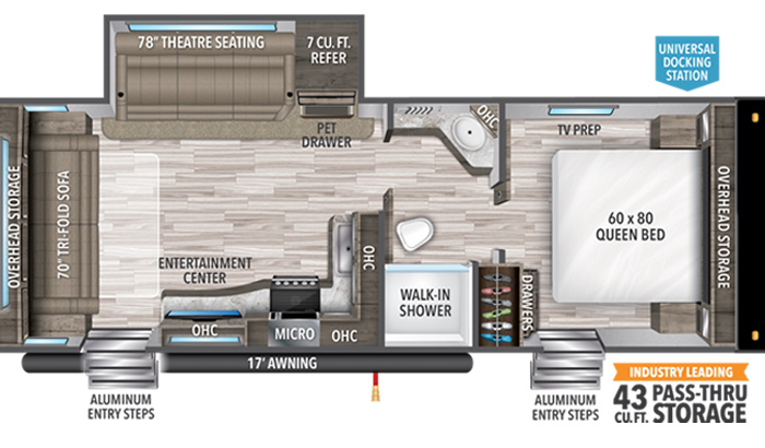 Transcend XPLOR 245RL floor plan diagram.