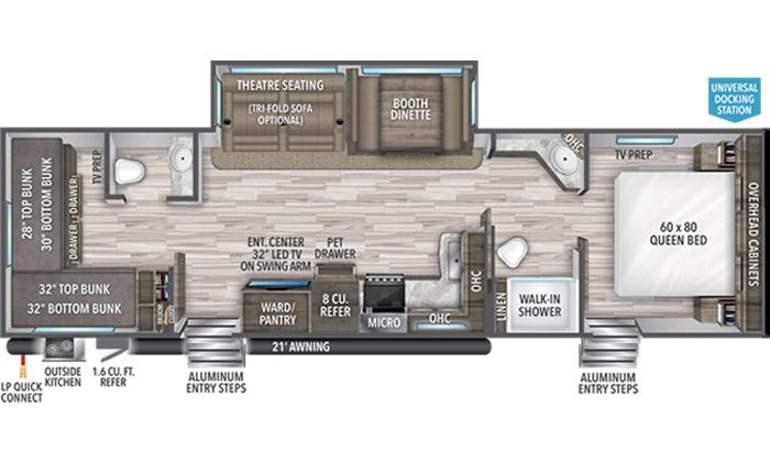 Transcend XPLOR 321BH floor plan diagram.