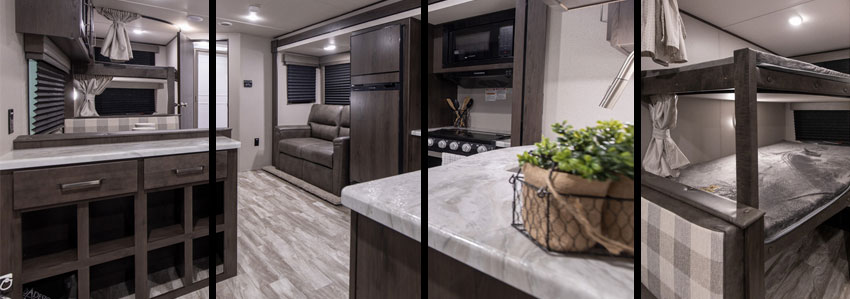 Photo collage showing living area of Grand Design XPLOR 261BH travel trailer.