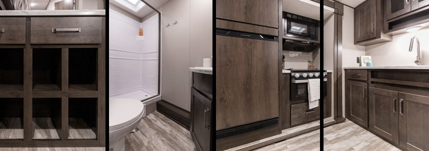 Photo collage showing kitchen, bathroom, and storage area of Grand Design XPLOR 261BH travel trailer.