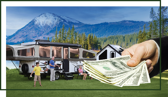 RV mountain view hand money