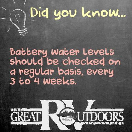 did you know, battery water levels should be checked every 3 to 4 weeks.